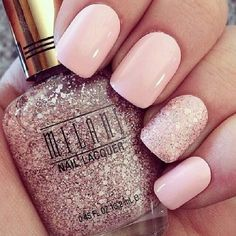 Pretty pale pink nails with a glitter feature nail #weddingnails #pink #nails