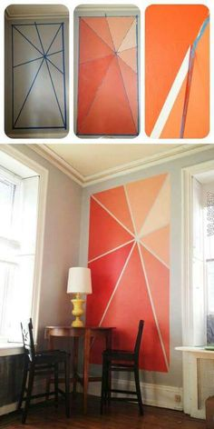 Accent Wall Ideas - Ideas de diseño a la pared./ Layout ideas to the wall. Diy Wand, Diy Home Decor, Room Decor, Art Decor, Deco Design, Design Diy, Design Ideas, Home And Deco, Diy Wall Art