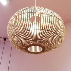 Danish design suspension lamp made of bamboo wood. Find more Scandinavian and other design pendants and home decor online. Bamboo Lamp, Boho Kitchen, Unique Lamps, Living Room Inspiration, Pendant Lamp, Light Fixtures, Applique, Ceiling Lights, Flooring
