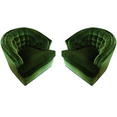 Beautiful Pair Of Green Velvet Tufted Barrel Back Chairs