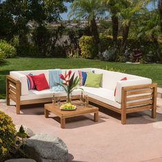 GDF Studio Ravello Outdoor Patio Furniture 4 Piece Wooden Sectional Sofa Set w/Water Resistant Cushions - homeandgarden. Enjoy this outdoor sectional sofa set on your patio today. Outdoor Wood Furniture, Pallet Garden Furniture, Wood Patio, Patio Furniture Sets, Patio Chairs, Outdoor Sofa, Furniture Design, Furniture Layout, Furniture Ideas