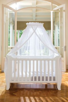 The Halo Net & Stand provides fairytale elegance to any nursery or bedroom with its sheer flowing canopy and expertly crafted wooden stand. Simply attach the wooden base with the easy-screw handles to your cot bed's slats or bed's headboard. Nursery Inspiration, Nursery Ideas, Room Ideas, French Nursery, Stand And Deliver, Baby Canopy, Bed Slats, Cot Bedding, New Baby Boys