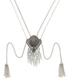 Another great find on #zulily! Burnished Silvertone & Turquoise Double Tassel Pendant Necklace #zulilyfinds