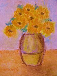 Sunflower pastel drawn by 4th grader