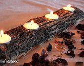 Log Candles Rustic Wedding / Cabin Decor Table Center Piece Primitive Home. $16.00, via Etsy.