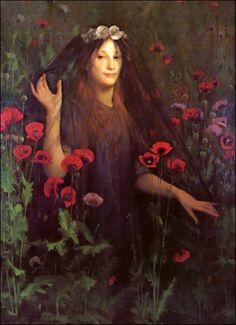 Thomas Cooper Gotch or T.C. Gotch (British 1854–1931) [Pre-Raphaelite, Portrait] Death the Bride, 1894/1895.