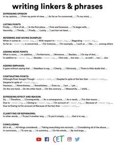 Useful Linking Words & Phrases for Essay - Fluent Land Ielts Writing Academic, Essay Writing Skills, English Writing Skills, Writing Words, Teaching Writing, Grammar For Writing, Writing Images, Persuasive Writing, Argumentative Essay