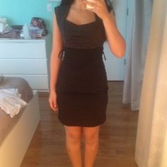 Black/Gray Dress Cute dress, upper half is dark gray, bottom half is black and has loops to hold a belt but can be taken off. Would be great for job interviews and is work appropriate. Ruby Rox Dresses