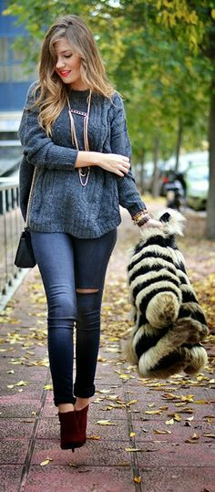 Gray Hollow Out Jumper Sweater with Casual Skinny and Khaki Stripes Long-line Fox Faux Fur Warm Coat, Burgundy Booties.