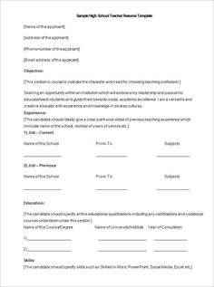 Microsoft High School Teacher Resume Template DOC , A Successful Resume Template Open Office for Job Seeker , Resume is an important document that needs to be prepared if you want to apply a job. Resume should be made in a simple and attractive way. A good res...