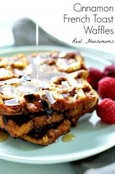 Cinnamon bread french toast waffles. My wif just made these for me. GOOD TO BE ME!!!!!