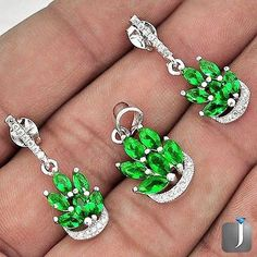 Emerald and White Topaz Pendant and Earrings Set - pinned by pin4etsy.com