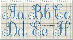 Monogram Cross Stitch, Cross Stitch Art, Cross Stitch Alphabet, Cross Stitch Embroidery, Crochet Alphabet, Alphabet Charts, Crotchet Patterns, Stitch Patterns, Embroidery Floss Crafts