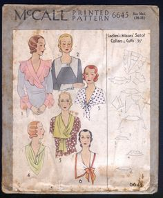 1931 McCall Pattern Ladies Set of Collar and Cuffs