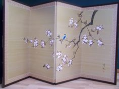 Vintage Japanese Room Divider Screen Hand Painted Silk Bird On A Branch