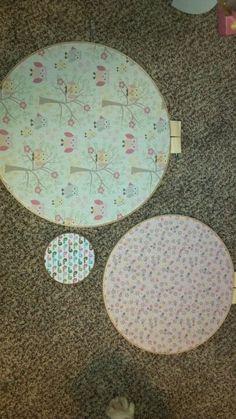 Nursery decor. Fabric in hoops.