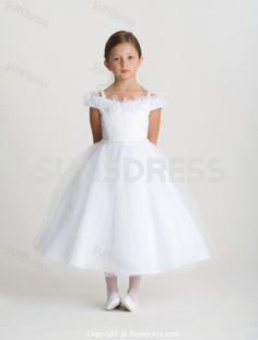 bfdef4f8ed7 White Ball Gown Off the Shoulder Straps Tea-length Satin Organza Flower  Girl Dress
