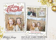 Christmas Card Template 5x7 in Holiday Card by TiramisuDesign