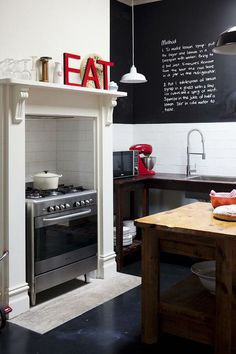 awesome kitchen, blackboard and letters