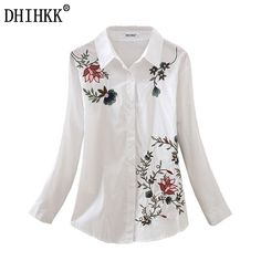 DHIHKK Floral Embroidered Blouse Shirt Women Slim White Tops Long Sleeve Blouses Woman Office Shirts Size S-2XL  #Affiliate