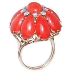 Coral Ring, Coral Jewelry, Gems Jewelry, Art Deco Jewelry, Jewelry Design, Beaded Jewelry, Coral Turquoise, Red Coral, Cute Rings