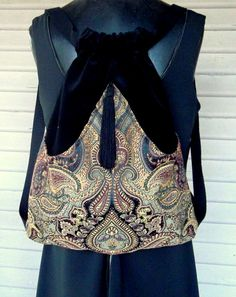 Renacimiento de gitana mochila boho boho slingbag terciopelo negro mochila mochilas boho cinch bag tapiz