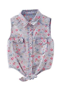 Small Floral Printed Demin Vest