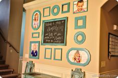 Gallery Wall arrangement with chalkboard in center...change your favorite quotes as often as you want!