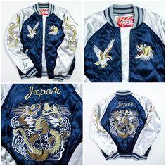 Vintage Japan YOKOSUKA Eagle Roaring Tiger Electric Blue Silver Dragon Ryu Souvenir Sukajan Jacket - Japan Lover Me Store