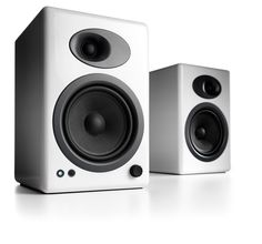 Audioengine 5+ Premium Powered Speakers, $399 — i dig these in #white, maybe for my desk in my neutral gray studio