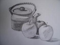 Stilleven met appels. Slagschaduw en eigen schaduw.