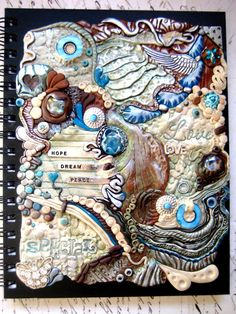 Bohemian Blues Art Journal Notebook  Polymer Clay by RoyalKitness, $55.00