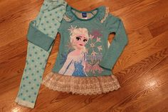 NWT Disney Frozen Girls Size 5 Outfit Leggings Top http://www.bonanza.com/listings/433411248