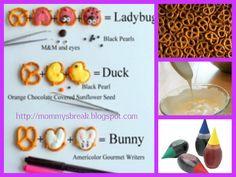 Pretzel Bunnies, Chicks, and Ladybugs.