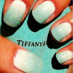 Tiffany blue ombre nails for wedding or everyday