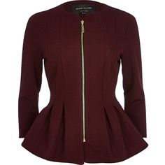 River Island Dark red textured jersey peplum jacket ($26) ❤ liked on Polyvore featuring outerwear, jackets, river island, coats, sale, jersey jacket, red zipper jacket, peplum zip jacket and peplum jackets