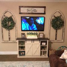 Mason Jar with Lights Lighted Mason Jar Vase Rustic Wedding Room Makeover, Living Room Lighting Design, Living Room Lighting, Wall Decor Living Room, Decor Around Tv, Tv Stand Decor, Living Room Makeover, Room Design, Farm House Living Room