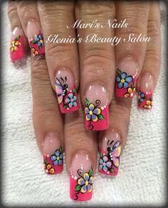 Shoe Nails, My Nails, Rose Nail Art, Long Acrylic Nails, Birthday Parties, Nail Designs, Mary, Beauty, Nail Bling