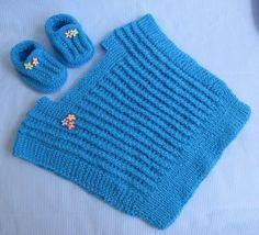 Agulhas e Pinceis: Coletinho e sapatinho de tricô para bebê