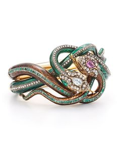 Fred Leighton Estate 19th Century Enamel Diamond, Ruby and Emerald Coiled Snake Bracelet. Via  Mary Rogers.