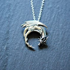 Sterling silver dragon necklace - winged dragon on moon pendant - goth medieval symbolic necklace - dragon jewelry - Jewelry Box, Jewelery, Jewelry Accessories, Jewelry Necklaces, Jewelry Trends, Big Jewelry, Jewelry Stores, Bullet Jewelry, Beaded Jewelry
