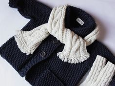 Kids Hand Knit Merino Wool Sweater Toddler Jacket Navy Blue Cardigan Coat Many colors available