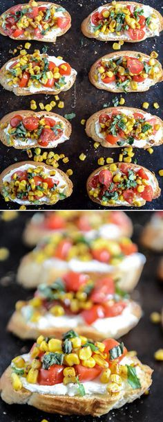 summer crostini with whipped garlic goat cheese. so good! by @how sweet eats I howsweeteats.com