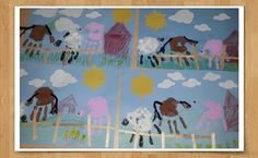 Farm Collage- Hand print animals and thumbprint  chicks (paint), paper clouds and sun, cotton balls, crayon grass and barn, popsicle stick fence, googly eyes, yarn, and FUN! Made these for our trip to the farm.
