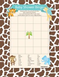 Delightful Baby Shower Bingo   Jungle Baby Shower Bingo, Jungle Theme, Baby Shower  Games