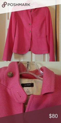 J. Crew wool jacket J. Crew wool and cashmere pink jacket...3 button...super fit at shoulders...worn once just not me J. Crew Jackets & Coats Blazers