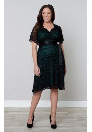 Kiyonna Retro Glam Lace Dress With Teal Lining