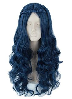 Women's Evie Wig Long Blue Wave Cosplay Costumes Wigs for Descendants 2 Evie Costume, Costume Wigs, Cosplay Wigs, Cosplay Costumes, Kawaii Hairstyles, Cute Hairstyles, Descendants Dress Up, Disney Descendants, Royal Blue Hair