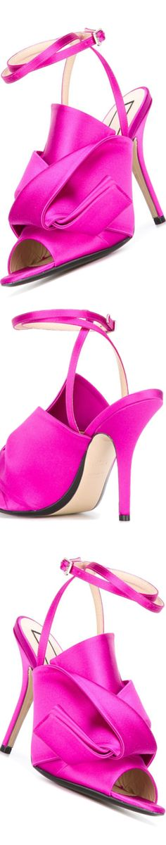 Nº21 Knotted Satin Sandals in 330 Fucshia