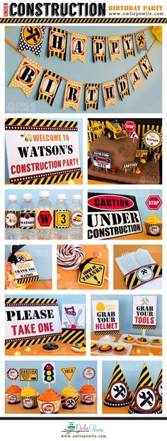 Construcción cumpleaños fiesta paquete imprimible & por OwliePowlie